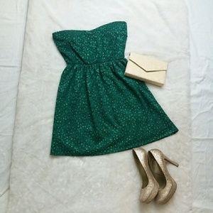 OYSTER Green Strapless Dress